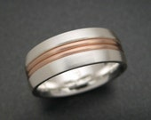 Sterling Wedding Ring with 14K Pink Gold Two Wire Inlay