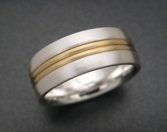Sterling Wedding Ring With 18K Two Wire Inlay