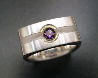 Sterling Channel Ring with Amethyst