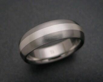Titanium Ring with Fine Silver Stripe