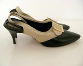 ON SALE! Vintage 60's Quirky Mod Pilgrim Buckle Stiletto Sling Backs 7.5N