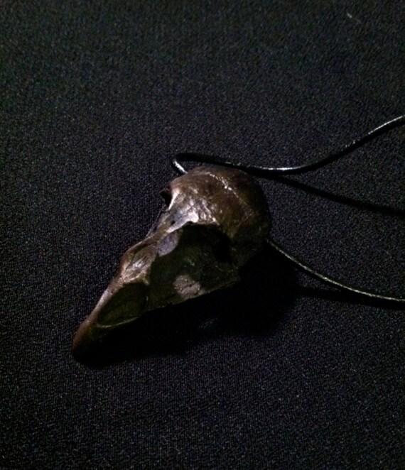 Cold Cast Dark Bronze Quail Skull Pendant