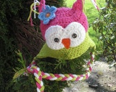 Beautiful OWL is sooo cute earflat hat Boy or Girl newborn to PRETEEN sizes are available