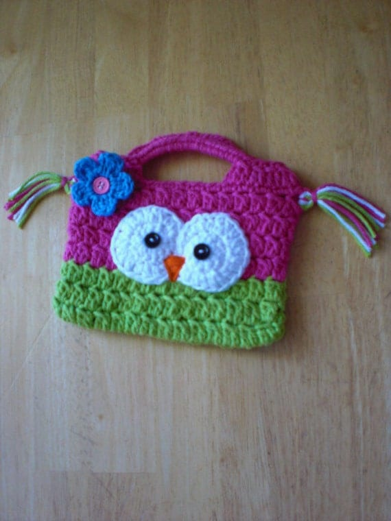 Crocheted Owly Hand Bags for Children by lilianda on Etsy