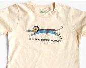 Funny T-Shirt, Monkey, Super Hero, Letter S, Monkey Onesie, Organic, Fly Monkey