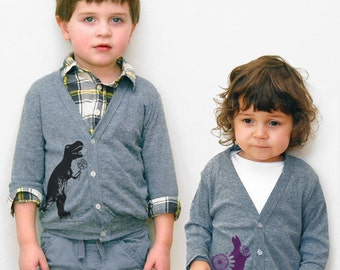 Cardigan Sweater, Toddler Cardigan, Dinosaurs, Dinosaur Sweater, T-Rex Gray, Children's cardigan