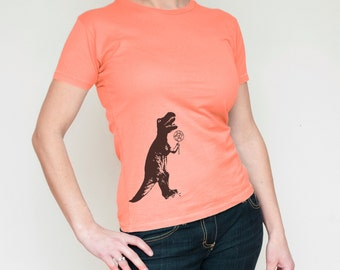 Women's T Shirt, Dinosaur t shirt, T-Rex shirt, Funny T-shirt, Coral, Women's Clothing, Summer Fashion, 247 team