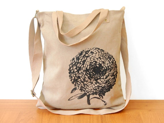 Cotton Canvas Tote Bag, Cross-Body Shoulder Strap, Flower Bag, Chrysanthemum