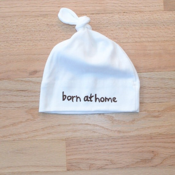 Born At Home, Home Birth, Homebirth, Baby Hat, Newborn photography props, Cotton Hat, Toddler Hat, white