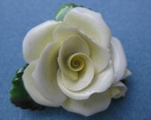 Vintage large staffordshire yellow rose flower pin