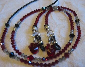 Swarovski dark red, black and clear crystal eye glass chain