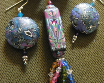 Polymer clay and swarvoski crystal necklace and earring set