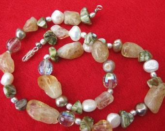 Sterling, green mop shell, citrine,freshwater pearl necklace