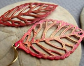 Reserved for Dinorah. Pink hand painted leaf earrings. Maya by joanniel creations