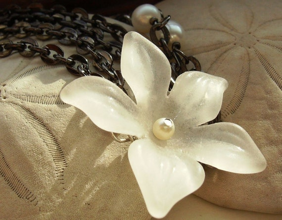 Vanilla flower necklace on gunmetal chain. Soft and elegant. Demure by joanniel creations
