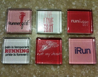 "Handmade ""Runner Girl"" Magnets (set of 6)"