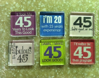 Handmade- Turning 45 Magnets- Set of 6