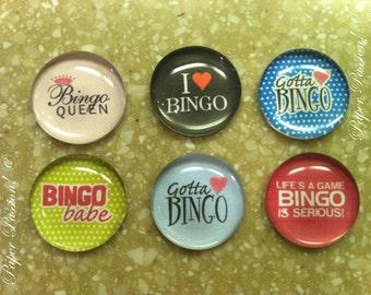 Handmade Bingo Magnets (set of 6)