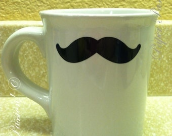 "White Ceramic Coffee Mug: ""The Mustache Mug"""