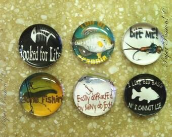 "Handmade ""Gone Fishing"" Magnets (set of 6)"