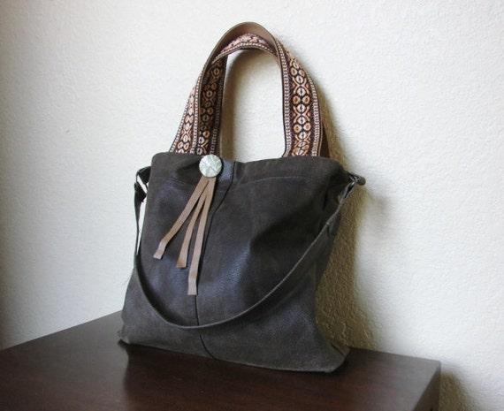 Boho Leather Tote