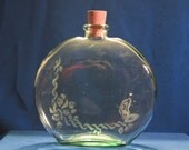 Butterfly and  Flowers Glass Bottle - Large