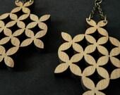 SALE - Wooden Geometric Flowers Earrings