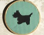Terrier Silhouette Green Pin Stripes Applique Wall Decor