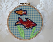 2 Fish in a Bowl on Gingham applique wall art hoop