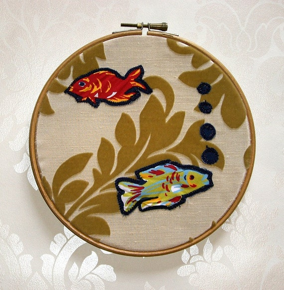 Two Fish in a Bowl Gold Brocade Applique Wall Decor