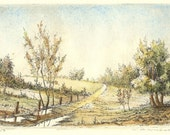 original etching of a natural landscape