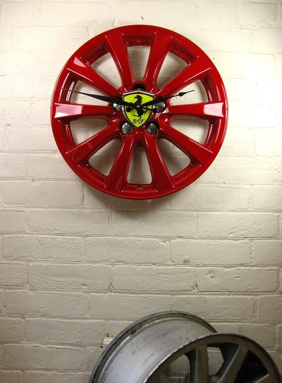 Alloy Wheel upcycled to stunning Ferrari Wheel wall clock