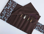 Knitting Needle Case for Interchangeable Tips and Circulars - Chocolate Brown with Blue Swirls
