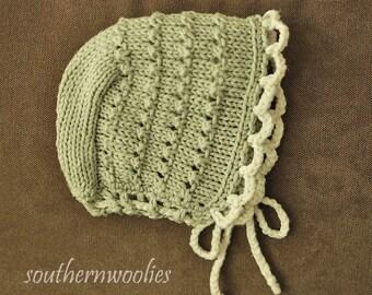 Handknit Newborn Baby Bonnet - Sage Green Cotton