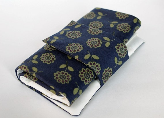 Knitting Needle Case for Interchangeable Tips and Circulars - Blue & Green Flowers