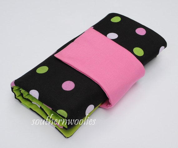 Knitting Needle Case for Interchangeable Tips and Circulars -Bright Polka Dots in Hot Pink & Green, with Accessory Clasp