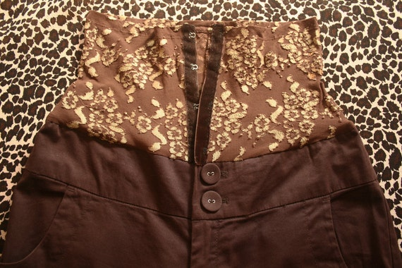 CLOSING DOWN SALE BlacK ButterfLies coLLection Customised upcycled brown and goLd high waisted trousers with hook and eye closures