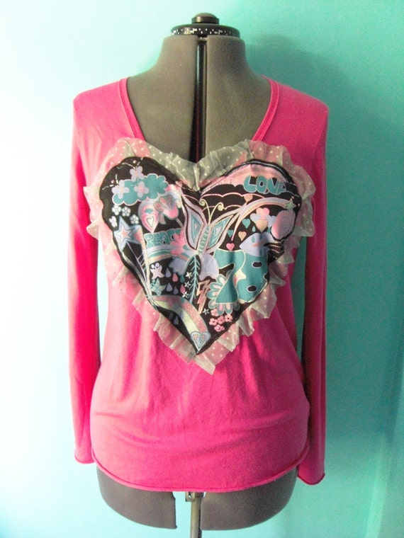 SUMMER SALE recycled CuStomised Pink Large heart applique Long sleeved Top with Frills cuTe Unique
