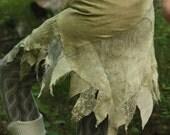 RESERVED Green tattered petal skirt, faerie costume piece
