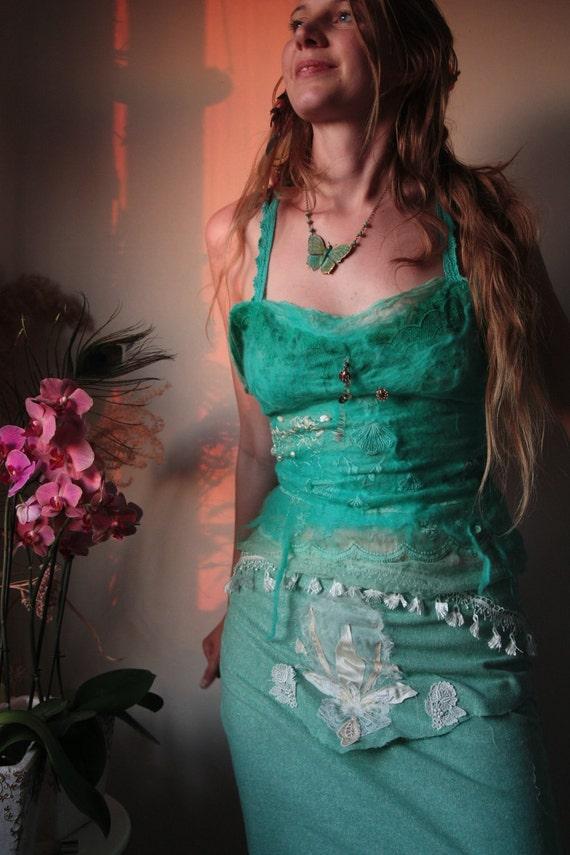Aquamarine sea Goddess silk and wool top
