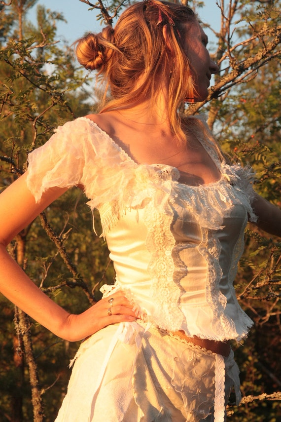 Bridal Faerie silk top with corset lacing, created out of the stuff that dreams are made of