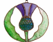 Scottish Thistle  - Stained Glass - Suncatcher - Original Art and Design (Copper Patina) - 4-1/2 inches