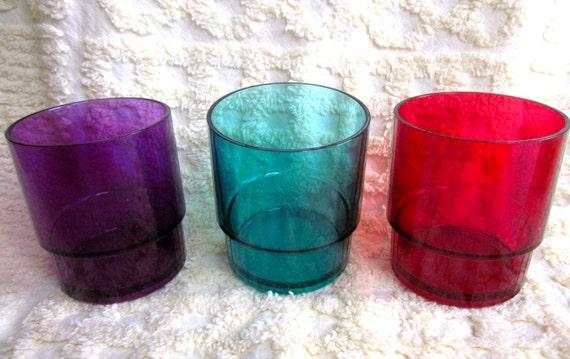 SALE Tupperware SHEERLY ELEGANT Jewel Colors Tumblers Cups Glasses 3