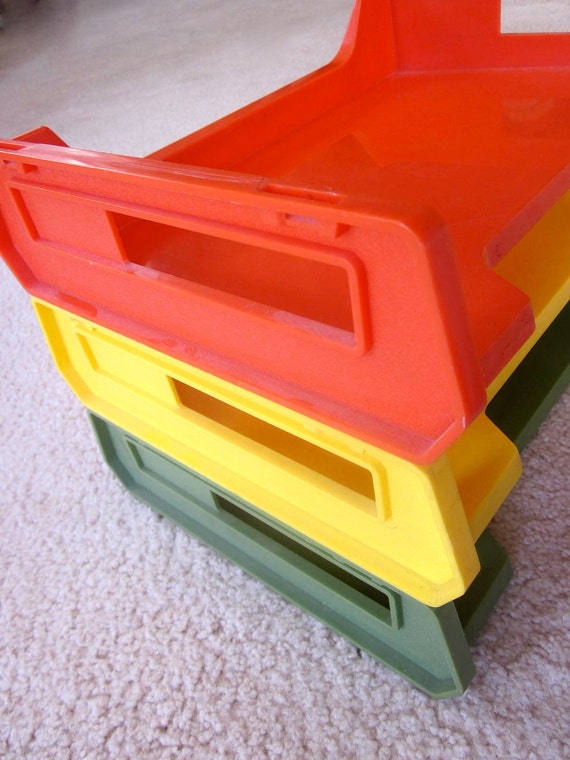 Vintage Plastic Letter Tray Desk Office Organizer Stacking