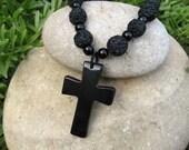 Dramatically Bold... Black Cross Pendant Necklace