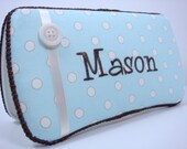PERSONALIZED Diaper Wipe Case - Light Blue Polka Dot Boys Diaper Wipe Case with Ribbon and Button - Baby Shower Gift