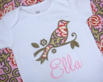 Baby Girl Clothes - Baby Girl Outfit - Personalized Baby Girl Shirt - Vintage Bird Bodysuit