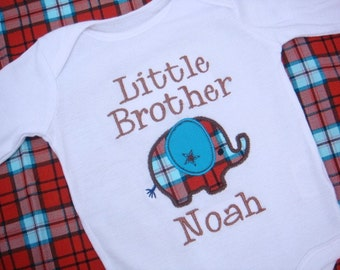 Little Brother Shirt - Brother Shirt - Big Sister Little Brother - Elephant Bodysuit