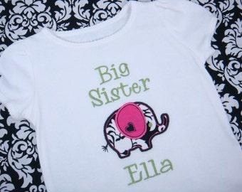 Personalized Big Sister Shirt - Big Sis Shirt - Elephant Shirt - Big Brother Elephant Shirt or Bodysuit