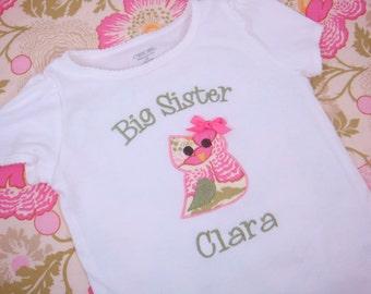 Big Sister Shirt - Big Sister Owl Shirt - Big Sis Shirt  - Little Sister Bodysuit - Little Sister Shirt
